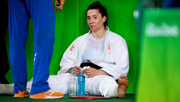 Judoka Marhinde Verkerk verloor van de Cubaanse Yalennis Castillo. Beeld anp