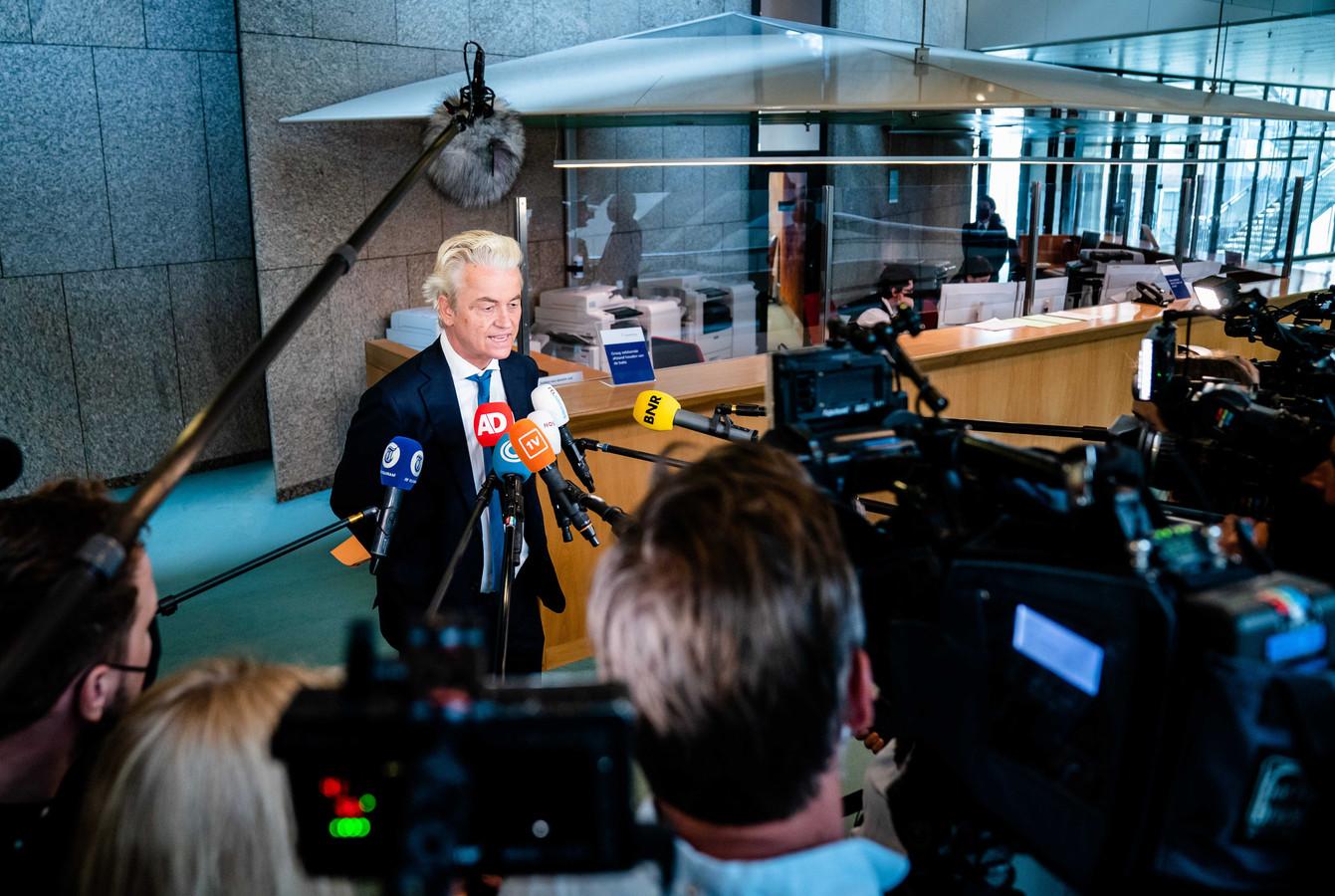Geert Wilders (PVV) in de Tweede Kamer.
