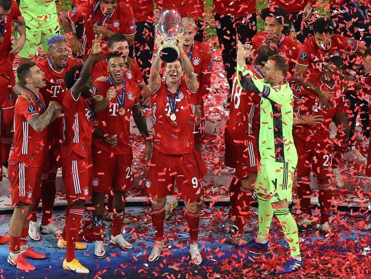 Bayern München viert de overwinning op Sevilla. Beeld AFP