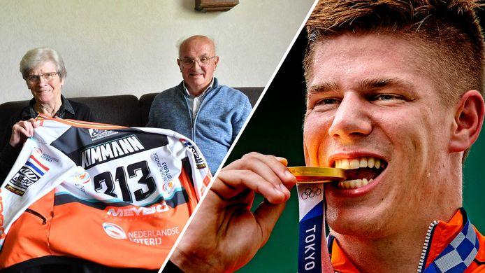 Links: een trotse oma Gerda en opa Jan thuis op de bank in Beltrum. Rechts: een blije Niek Kimmann bijt op zijn gouden plak.