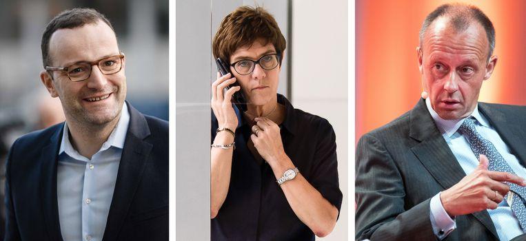 Van links naar rechts: Jens Spahn, Annegret Kramp-Karrenbauer en Friedrich Merz. Beeld EPA