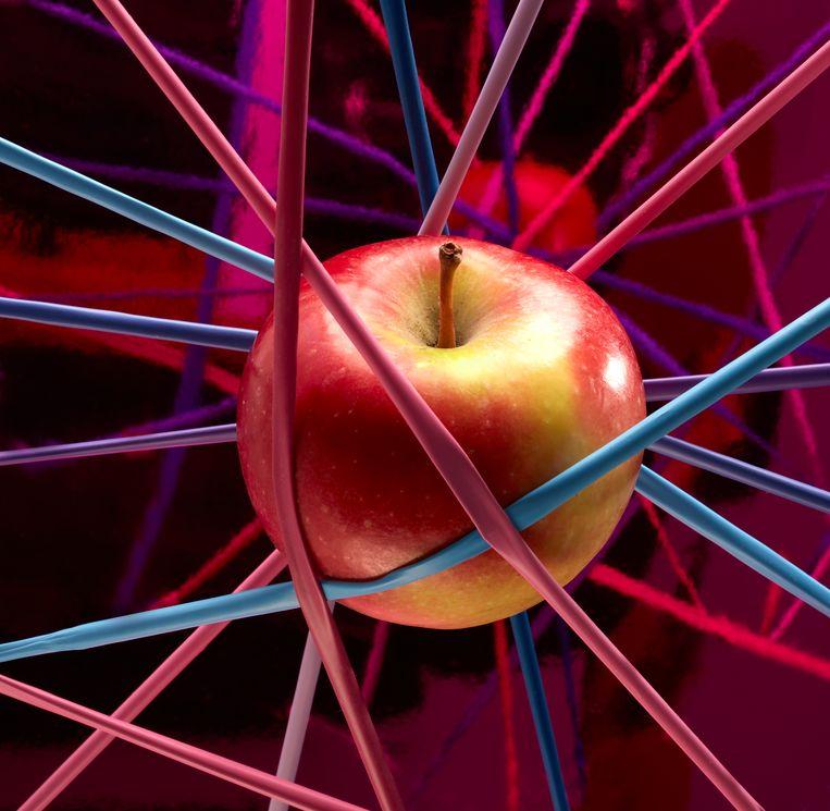 Uit welke bouwsteentjes bestaat de werkelijkheid? Wie ver genoeg inzoomt, ontdekt op het allerkleinste niveau geen legosteentjes of bouwblokjes maar een complexe kluwen trillende snaren, zo stellen aanhangers van de snaartheorie. Die theorie is de meest recente verschijningsvorm van onze pogingen om de wereld te beschrijven met wiskunde, een trend die begon toen Newton het gedrag van vallende appels - en andere alledaagse voorwerpen - in formules wist te vangen.  Beeld Van Santen & Bolleurs