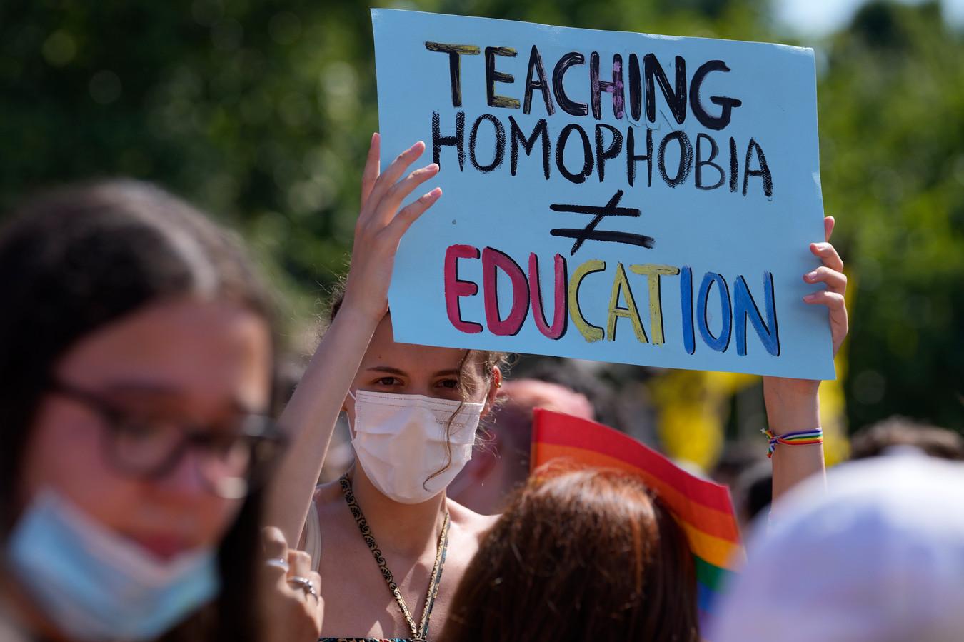 Demonstranten in Milaan (Homofobie leren is niet gelijk aan opvoeding).
