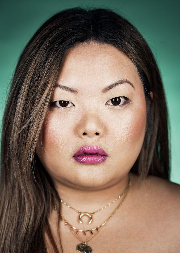 """Jasmijn Larive (30): """"Voor mij was het belangrijk om wat meer symmetrie in mijn lippen te krijgen."""" Beeld Tim Coppens"""