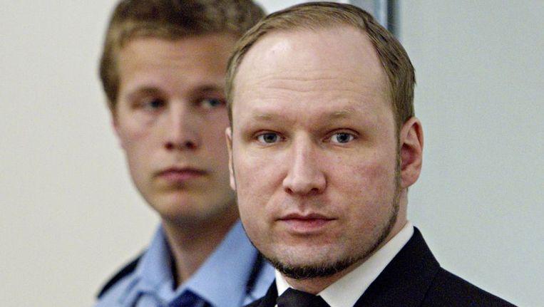 Anders Behring Breivik in de rechtbank. Beeld afp