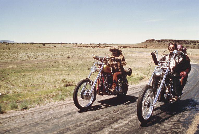 Scène uit 'Easy Rider', met Dennis Hopper, Peter Fonda en Jack Nicholson. Beeld © The Hollywood Archive