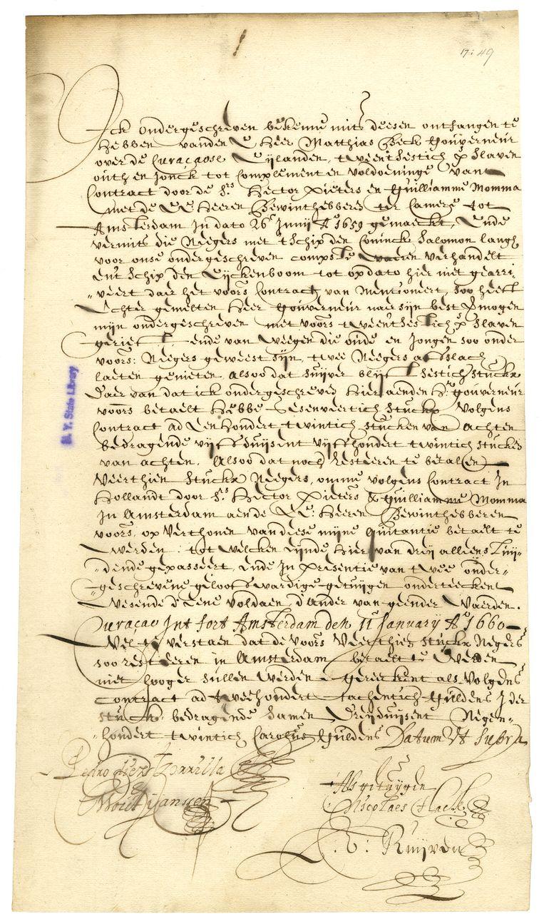Brief van de Spaanse kapitein Tzorilla Beeld