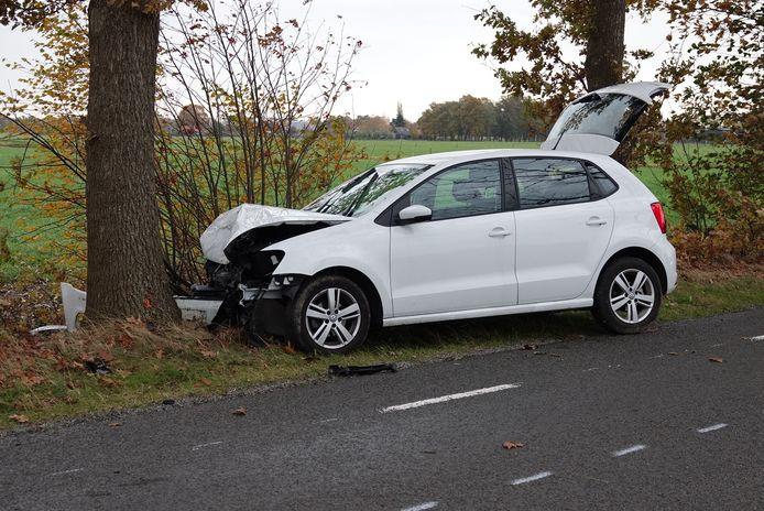 De auto kwam in het buitengebied van De Krim tegen een boom tot stilstand.