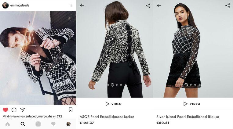Links een Instagrampost van stijlicoon Emma Gelaude. Rechts twee gelijkaardige stuks.