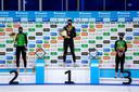 Ireen Wüst, Jutta Leerdam en Femke Kok op het podium van de 1000 meter.