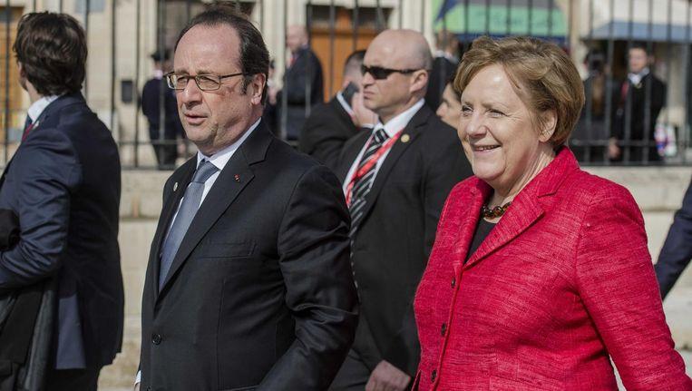 Hollande en Merkel tijdens de Europese top op Malta. Beeld anp