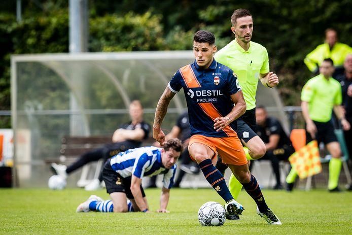 Görkem Saglam tijdens de oefenwedstrijd van Willem II tegen Quick Boys.