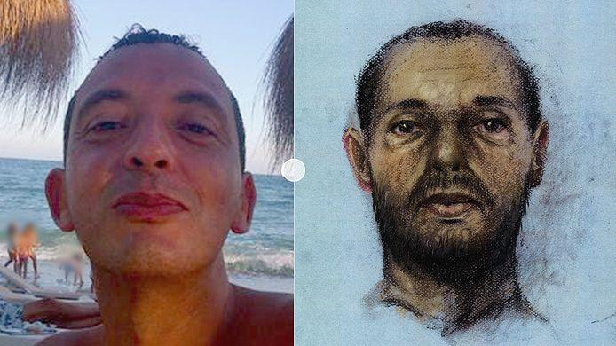 Een van de weinige foto's van Ridouan Taghi (links), en een onlangs door de politie verspreide 'verouderingstekening'.