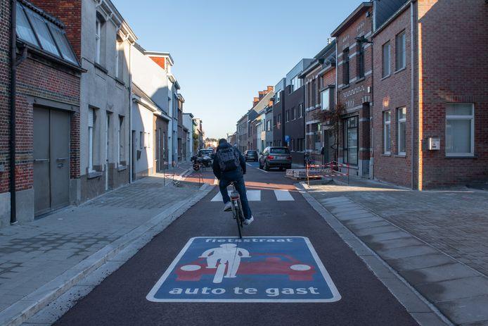De Ooststatiestraat is een mooi voorbeeld van een fietsstraat in Kontich