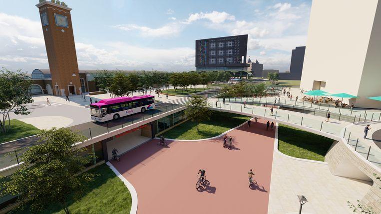 Een idee van hoe het station er uit zou kunnen gaan zien. Deze plannen zijn echter nog niet definitief. Beeld
