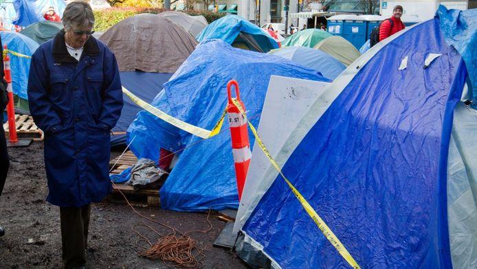 Het tentenkamp in Vancouver werd na de vondst van het lichaam afgezet.