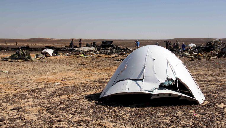 Wrakstukken van het Russische toestel dat verongelukte boven de Sinai. Beeld AP