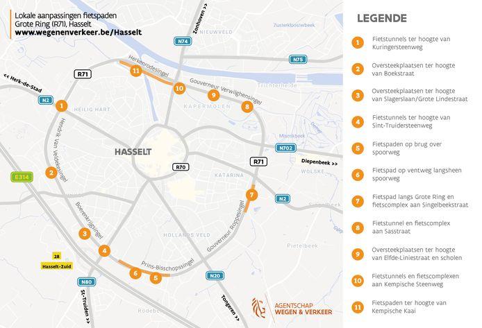 Het Agentschap Wegen en Verkeer zal op elf verschillende locaties de fietspaden en tunnels op de Grote Ring Hasselt aanpakken.