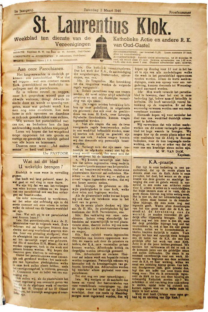 Eerste exemplaar van de St. Laurentiusklok, 2 maart 1946.