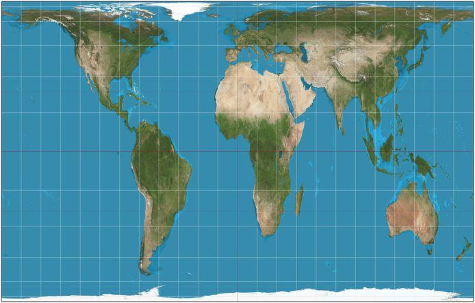De wereld volgens de Gall-Petersprojectie.