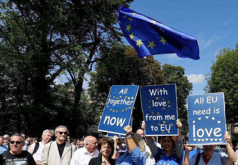 Anti-brexit demonstranten demonstreren tegen de brexit.  Beeld AP