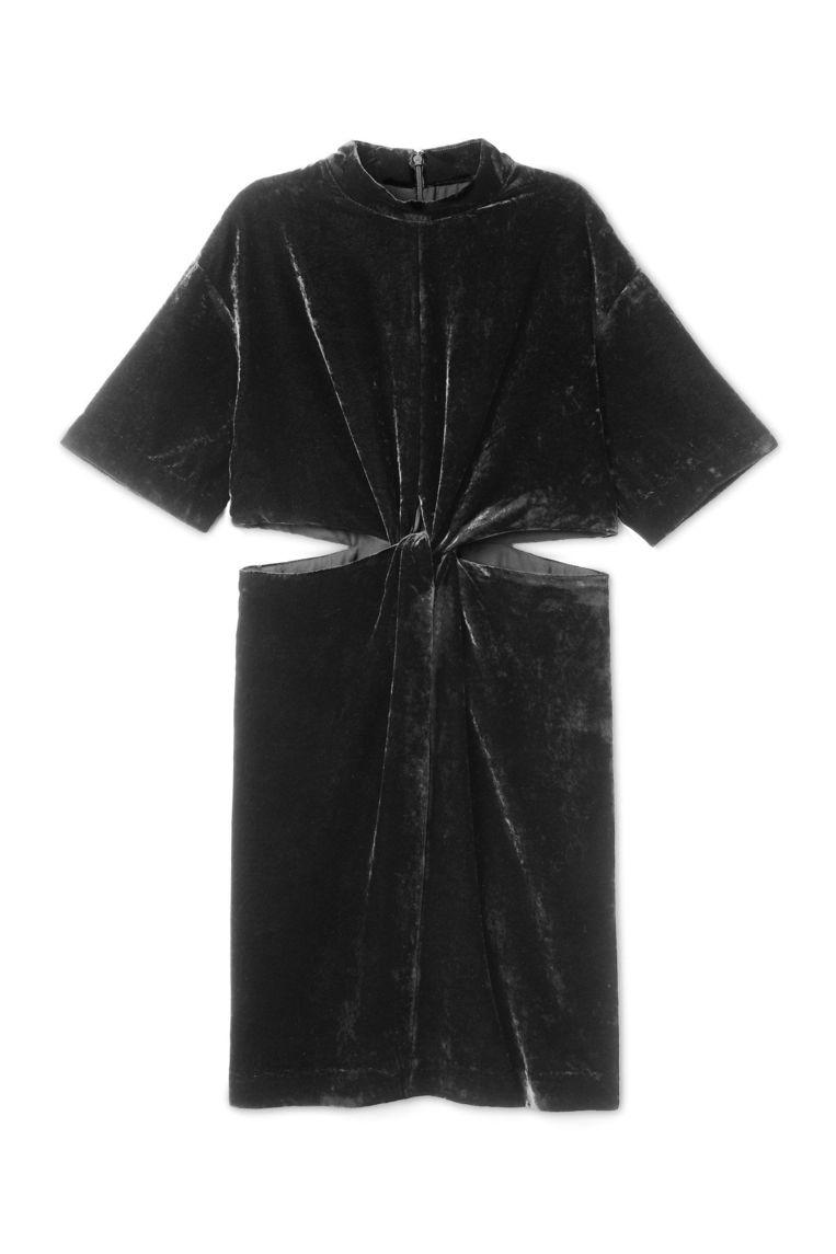 Petrolkleurige jurk met bloot middenrif van Weekday, € 70 Beeld .