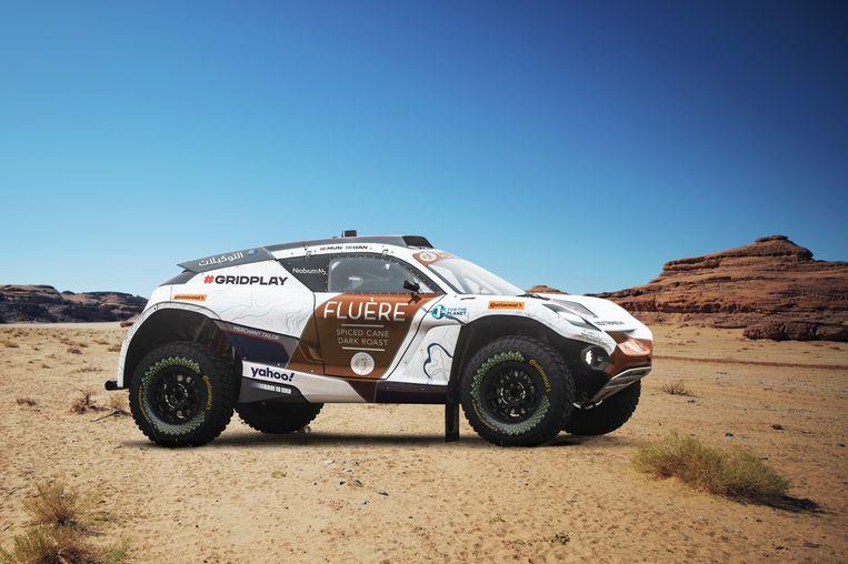 De Spark Odyssey 21, een van de auto's die gaan deelnemen aan de rally Extreme E, met Timmy Hansen en Catie Munnings als chauffeurs.  Beeld Charly Lopez/Spacesuit Media