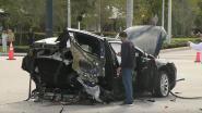 Tesla breekt in tweeën na zware crash