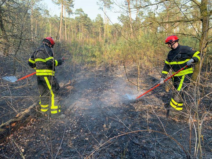 Brandweermannen gebruiken vuurzwepen om het vuur te doven.
