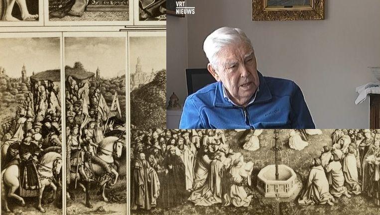 Een zwartwitfoto uit het Gentse Stadsarchief van het Lam Gods, met linksonder het paneel van De Rechtvaardige Rechters. Inzet: Jan Bresseleers (93). Beeld belga - vrt