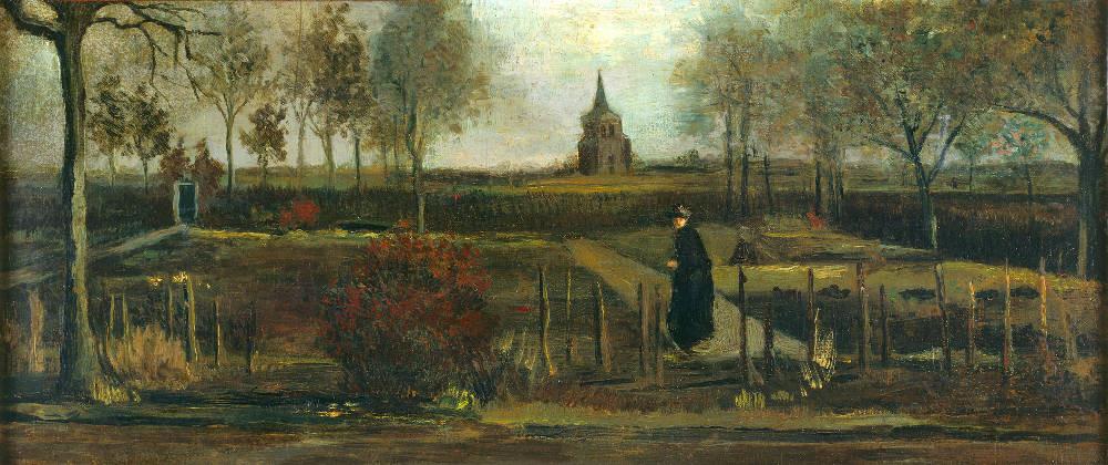 Eén van de weinige meesterwerken die tijdens de coronacrisis gestolen is: Van Goghs Lentetuin, de pastorietuin te Nuenen in het voorjaar.