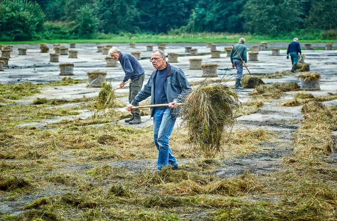 Huub van Boxmeer (links)en Toon Rijkers met andere vrijwilligers druk bezig met het uitspreiden van grote balen gras met bijzondere bloemzaden.