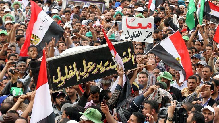 Demonstratie van islamisten op het Tahrirplein in Caïro. Beeld null