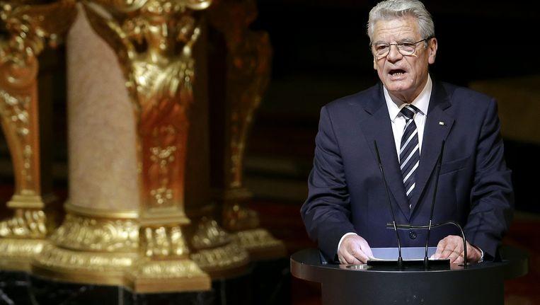 Joachim Gauck, donderdagavond bij een plechtigheid in Berlijn. Beeld AP