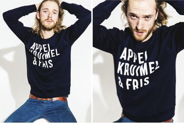 De lijn van Appelkruimel & Fris komt te bestaan uit truien, truien voor kinderen, shirts 'en zo'n linnen hipstertas'. Beeld Iris Duvekot