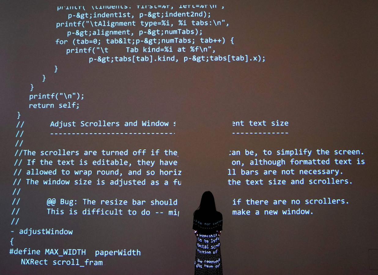 Een projectie van de broncode van het internet.