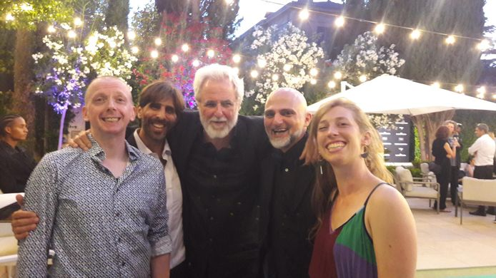 Paul de Blieck (animatiesupervisor Brussel), Sefi Gayego (animatiesupervisor israel) Ari Folman (regisseur Israel), Elie Klimis (senior animator Brussel en Sarah Menheere in Cannes