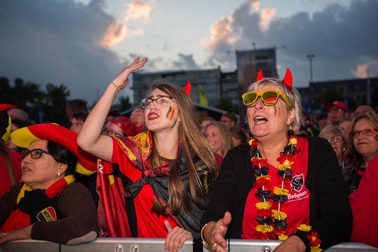 Illustratiebeeld: Supporters kijken naar een WK-scherm in Hasselt in 2018