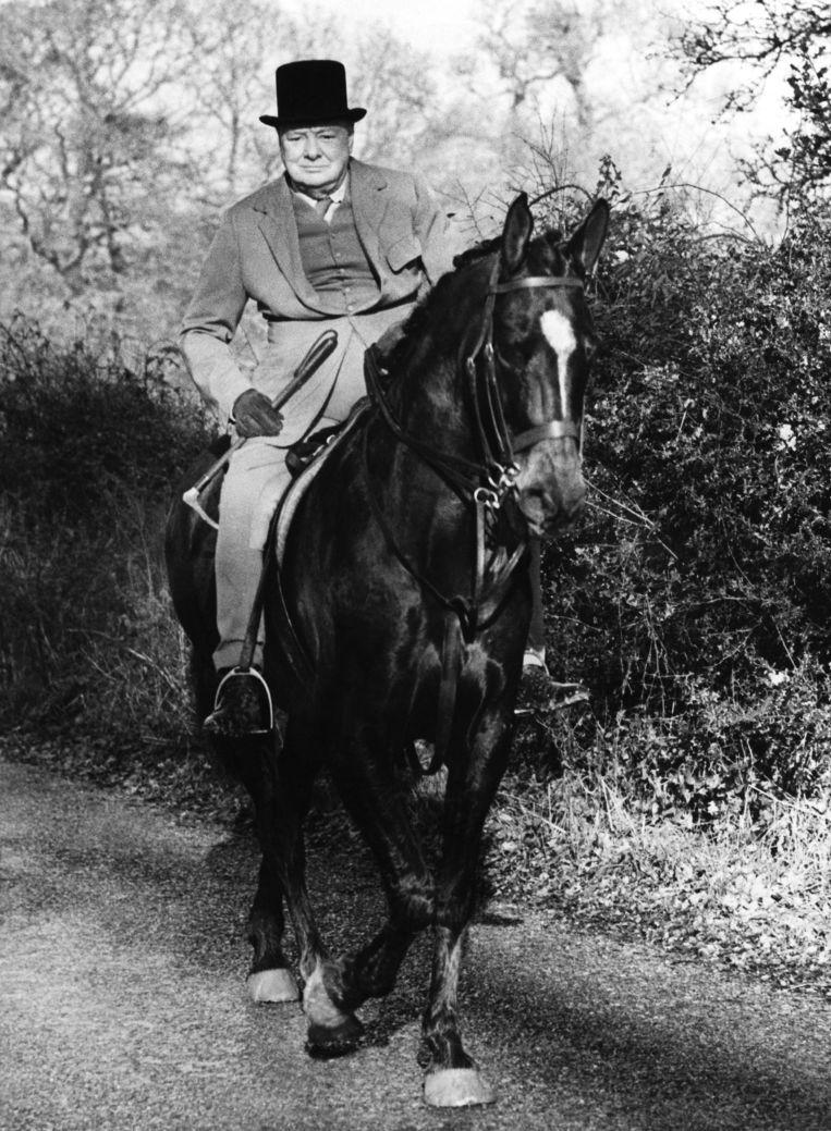 Churchill te paard in 1948. Beeld Gamma-Keystone via Getty