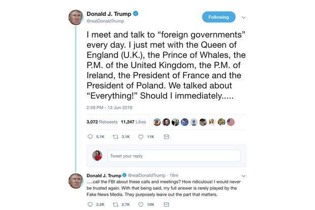"""Le fameux tweet de Donald Trump évoquant sa rencontre avec le """"Prince des Baleines"""""""