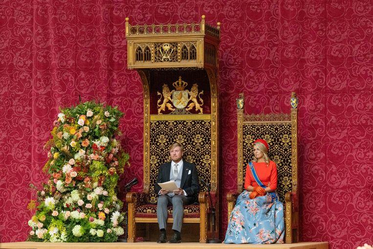 Koning Willem-Alexander en koningin Máxima tijdens het voorlezen van de Troonrede in de Grote Kerk aan leden van de Eerste en Tweede Kamer. Beeld Brunopress