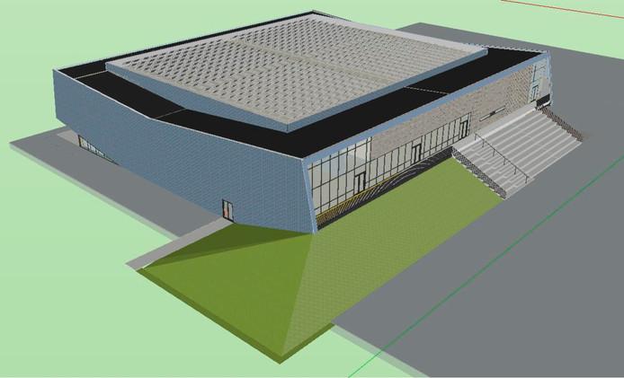 De nieuw te bouwen sporthal in Drunen.