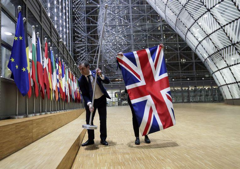 De Union Jack werd vorige week verwijderd uit de Europese gebouwen in Brussel. Beeld EPA