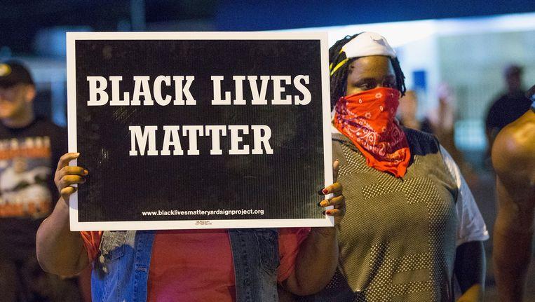 Betogers in Ferguson afgelopen zondag.