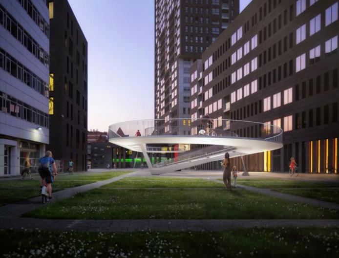 Een toekomstbeeld van de fietshelling van de Parkbrug, aan de kant van het Eilandje ©