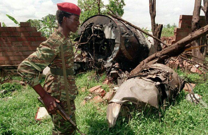 Het vliegtuigwrak waarin president Habyarimana omkwam in 1994.