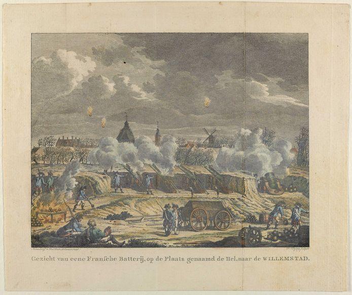 Een gravure uit 1975 van Fort de Hel bij Willemstad door Hausdorff & Bulthuis.