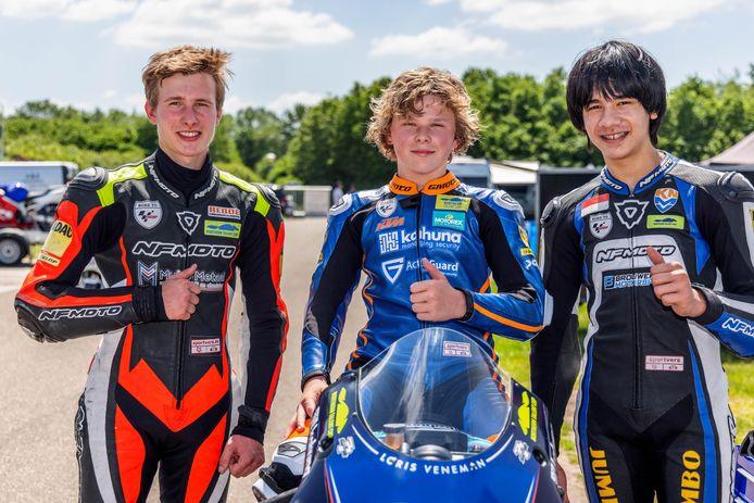 Drie regionale coureurs in de Northern Talent Cup (vlnr): Damian Boessenkool, Loris Veneman en Rio Olofsen.