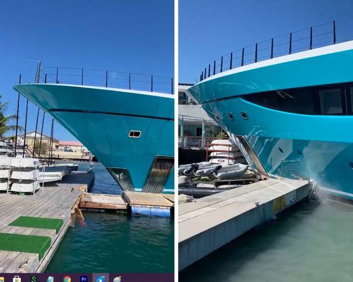 Un spectateur a filmé un yacht de luxe de 77 mètres s'écraser sur le quai en bois du yacht club de Saint-Martin dans les Caraïbes, alors que le navire quittait le lagon de Simpson Bay.
