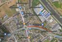 De Bostoensite langs de Ringvaart is nu niet rechtstreeks aangesloten op de Deinsesteenweg. Verkeer moet via de weg in het oranje rijden en doet dan eerst het rondpunt aan.